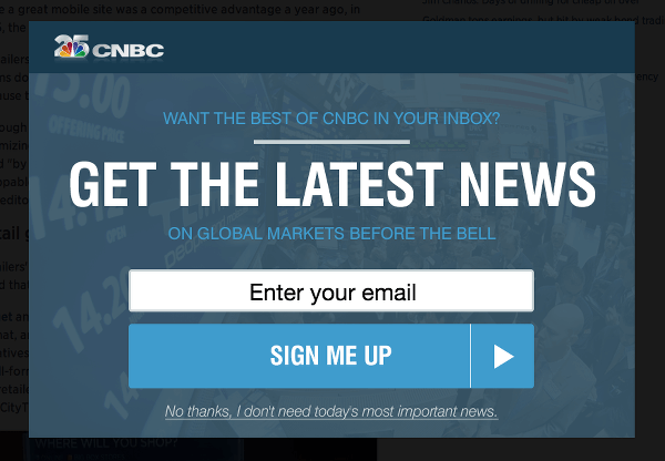 Unsolicited Modal From CNBC