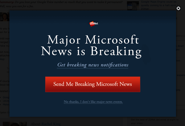 Unsolicited Modal From ZDNet