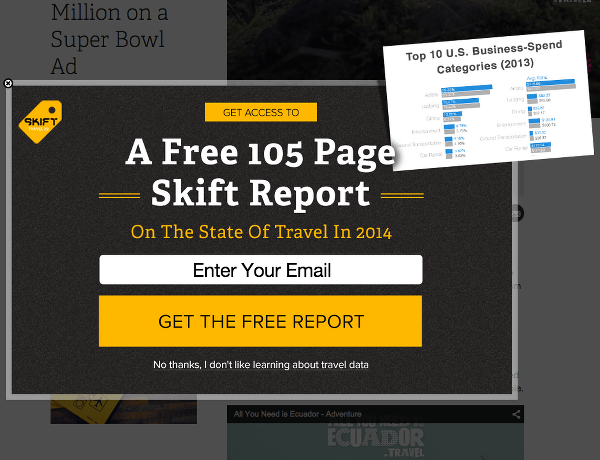 Unsolicited Modal From Skift